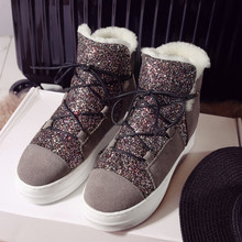 Round Toe Lace Up Chunky Winter Warm Snow Boots Outdoor Fasshion Thick Bottom Platform Bling Shoes