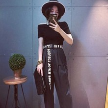 Korean version of unisex canvas belt ladies jeans fashion wild dress casual smooth buckle English letter wide