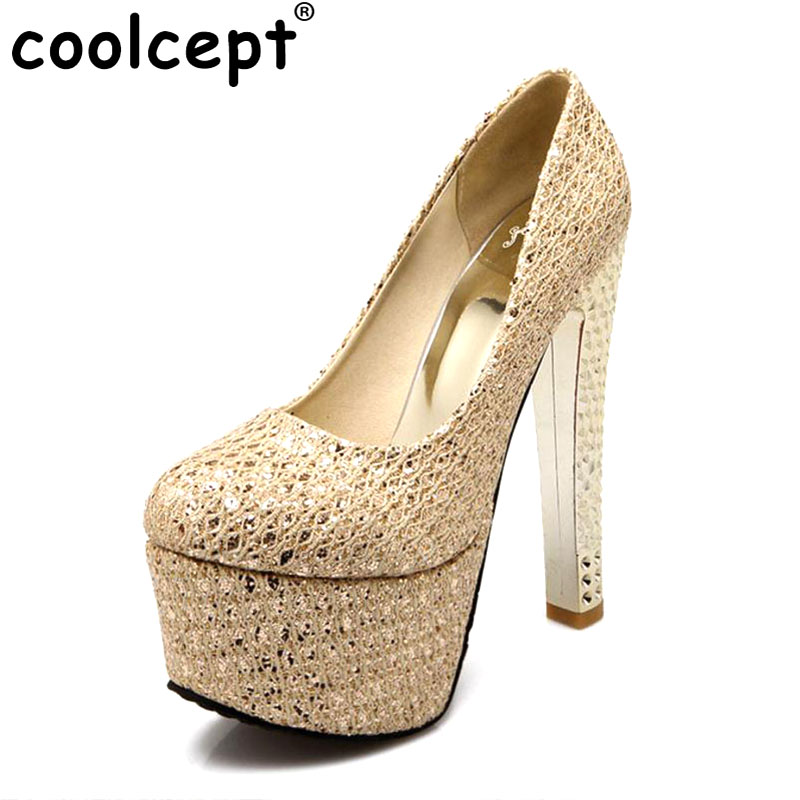 Coolcept women platform high heel shoes escarpin party spring Zapatos Mujer footwear  heeled pumps heels shoes size 33-43 P17522 apoepo brand 2017 zapatos mujer black and red shoes women peep toe pumps sexy high heels shoes women s platform pumps size 43