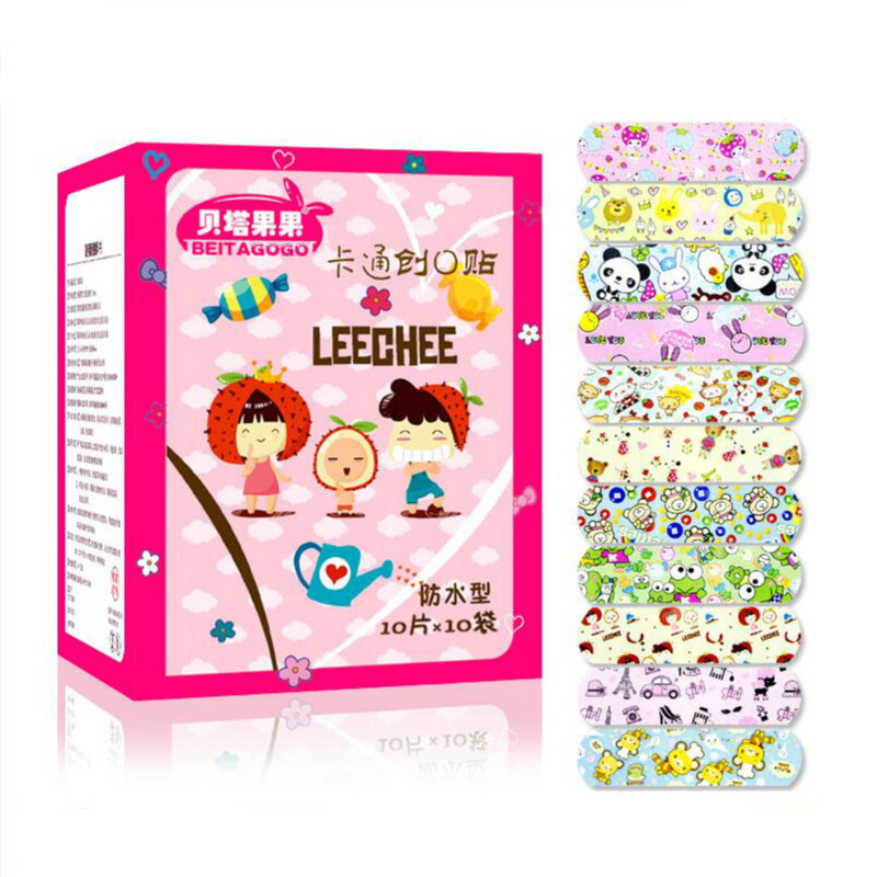 100PCs Waterproof Breathable Cute Cartoon Band Aid Hemostasis Adhesive Bandages First Aid Emergency Kit For Kids Children-in Emergency Kits from Security & Protection