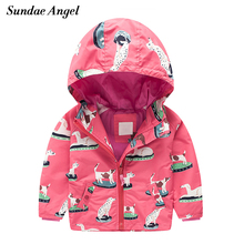 цены Sundae Angel Girls Windbreaker Jacket Long Sleeve Hooded Print Dog Penguin Pattern Animal Kids Baby Girl Outerwear Coat Clothes
