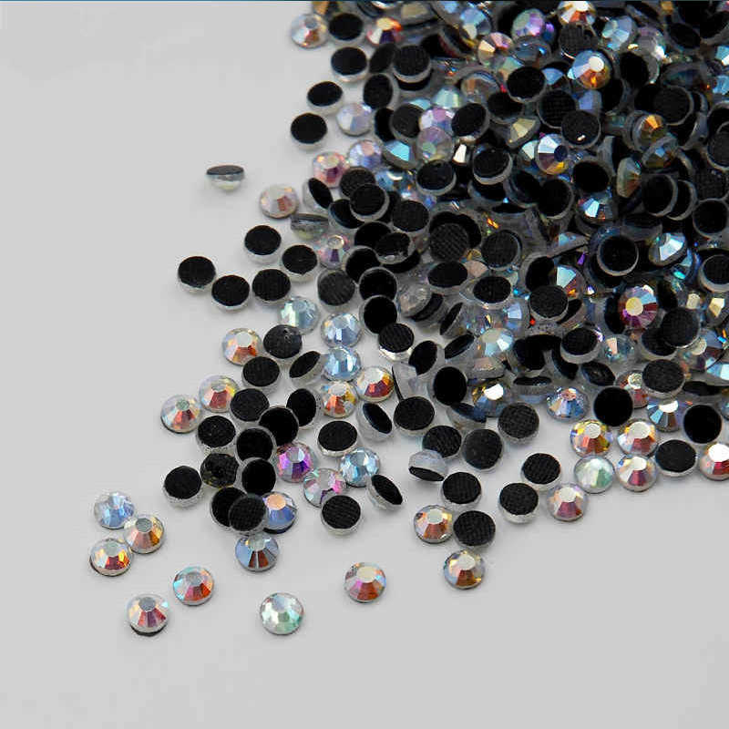 DMC cristales redondos y cristales AB SS6 SS10 SS16 SS20 SS30 Strass trasero plano Hotfix diamantes de imitación accesorios de vestir