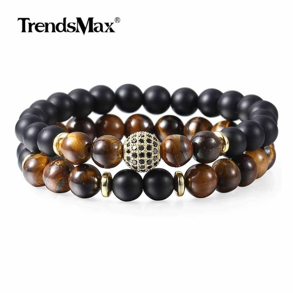 Tygrysie oko kamienne bransoletki z koralików CZ złoty koralik Charm bransoletka dla mężczyzn chłopcy podwójna warstwa nadgarstek biżuteria męska prezenty DDB05