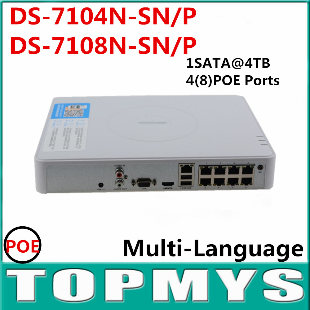 Multi-language DS-7104N-SN/P  DS-7108N-SN/P 4 Ethernet Ports Plug & Play Full HD 1080P NVR Network Video Recorder for IP Camera цена и фото