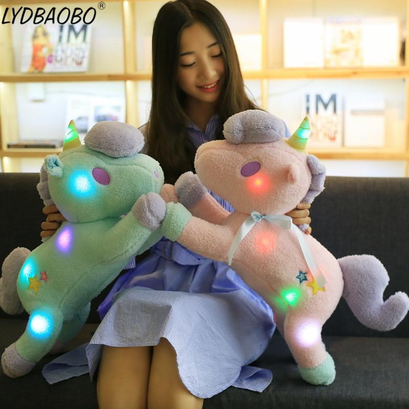 LYDBAOBO 1PC 55CM Luminous Pillow Christmas Toys Led Light Pillow Plush Pillow Hot Colorful Unicorn kids Toys Baby Birthday Gift