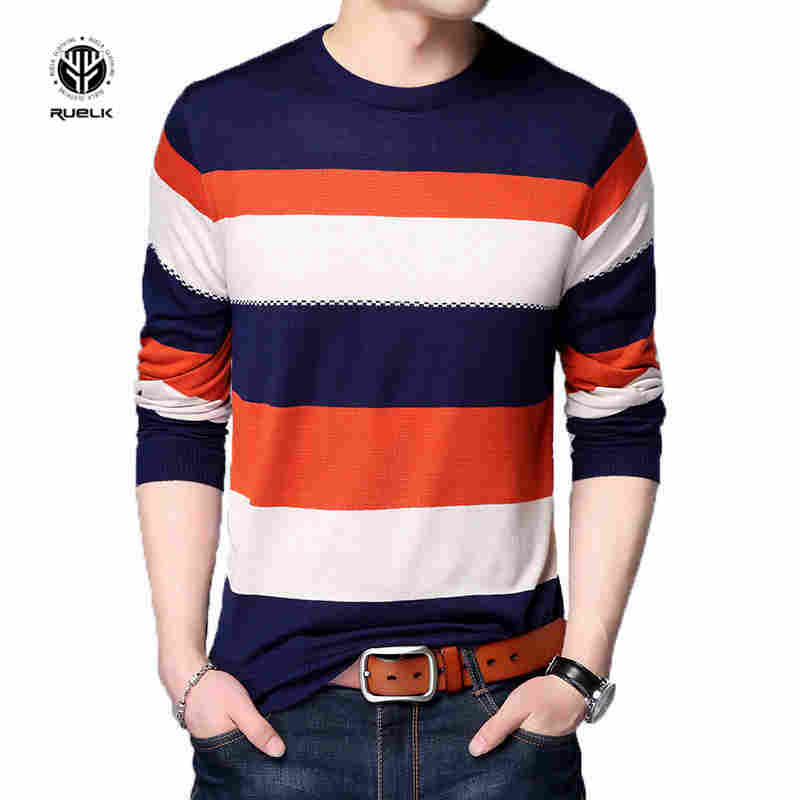 RUELK 2018 New Men's Fashion Casual Sweaters Stitching Color Round Neck Slim Sweater Breathable Sweat Not Deformed Pullover