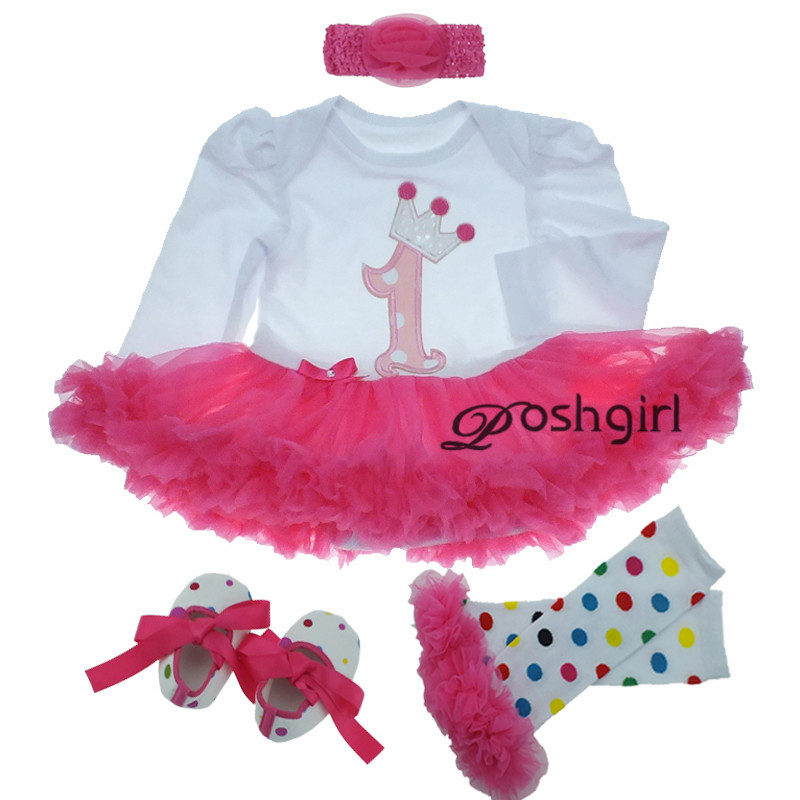 Spring NEW Born Batptism Baby Girl Dress Party Tutu Dresses Wedding Baby Dress 1 Year Birthday Clothes Set Vestido Bebe Infantil 4color choose set clothes hairbrand wear fit 43cm baby born zapf children best birthday gift only sell package