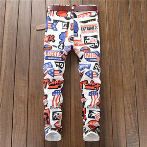 Image 3 - 2020 new jeans men imprimer Color printing design stretch jeans Soft Comfortable European and American style jeans men #5615