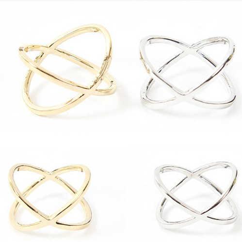 2019 nuevas llegadas anillo de mujer de moda Color oro y plateado X Cruz estéreo anillo hueco envolvente para joyería de mujer