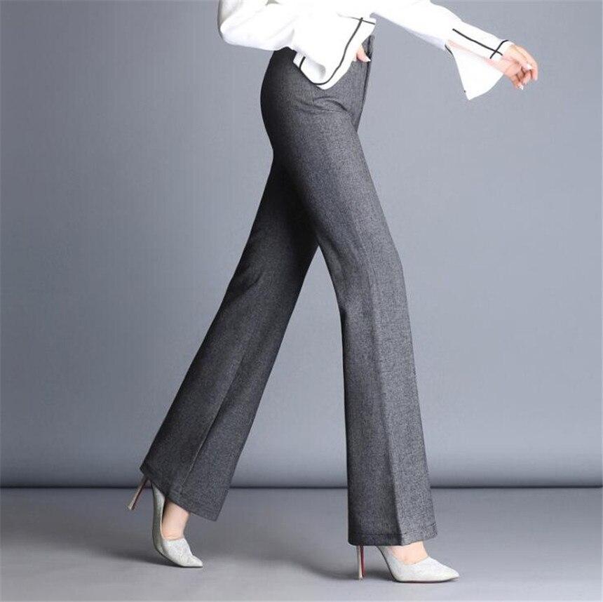 KMUYSL 2018 Женская мода тренд Белл-низ большой код талии высокие навоз брюки без повседневные эластичные брюки KF014