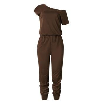 2019 Spring And Summer Fashion Women Slant Shoulder Casual Pocket Jumpsuit Short Sleeve New Solid Bodysuits Women Rompers 5