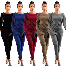 2018 New fashion Women's Autumn Suede Tracksuit Women Hoodies 2-Piece Set Letter print Sweatshirt+Long Pants Leisure Suits