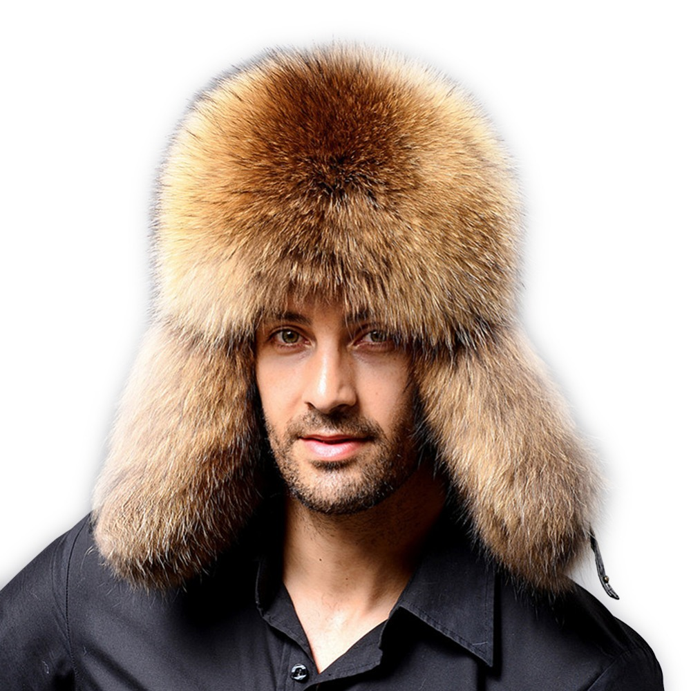Fur Talk men s cold winter genuine fox fur and leather Russian Ushanka Hat  free shipping fe746672609