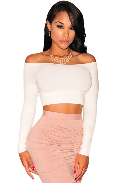 2cf950ebc8260b Cfanny New Women Clubwear Tops Fashion Sexy Style Slim Solid Crochet Long  Sleeves Cropped Top Off-The-Shoulder Knit Crop Top