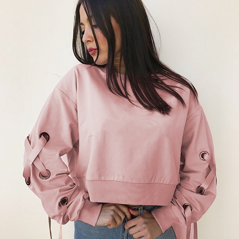 2017 Chic Sexy Fashion Lady Casual O-Neck Lace Up Long Sleeve Pink Hoodie Crop Top Streetwear
