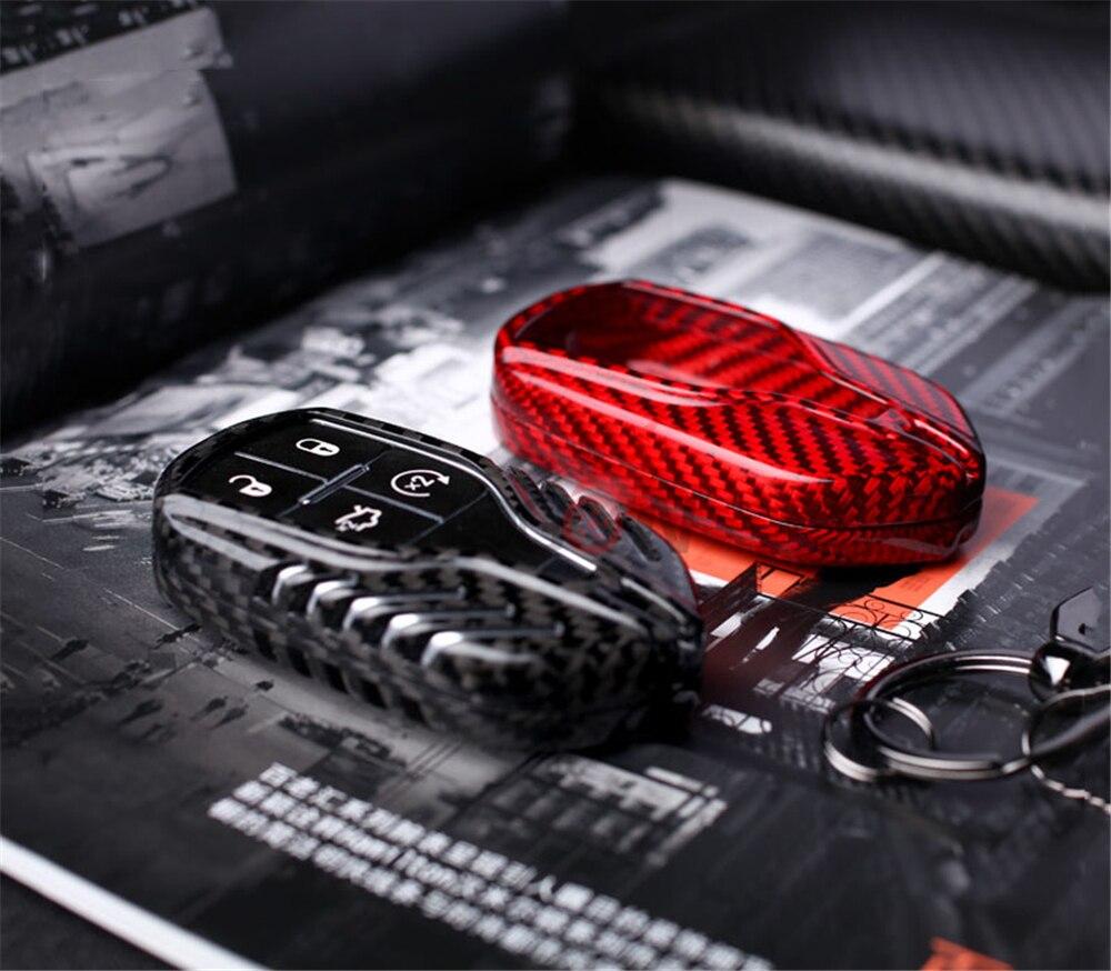 Pour Maserati Quattroporte 2013-2018 Ghibli 2013-2018 Levante 2017-2018 garniture de coque de porte-clés étui à distance en Fiber de carbone réelle