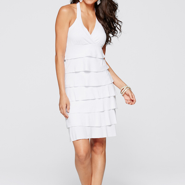2016 Summer Fashion Women Casual Dress Cascading Ruffle Knee-Length V-Neck Off the Shoulder Solid White Party Dress vestidos