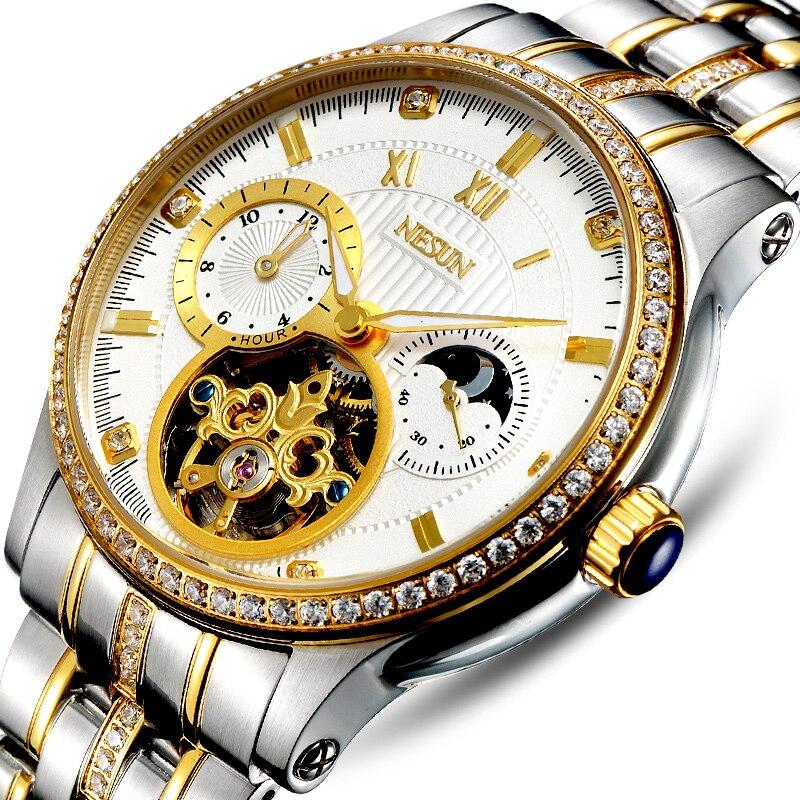 Luxury Brand Switzerland NESUN Skeleton Diamond Watch Men Automatic Self-Wind Men's Watches 100M Waterproof clock N9093-2 switzerland men s watch luxury brand men watches binger luminous automatic self wind wristwatch waterproof hollow clock b5036 6