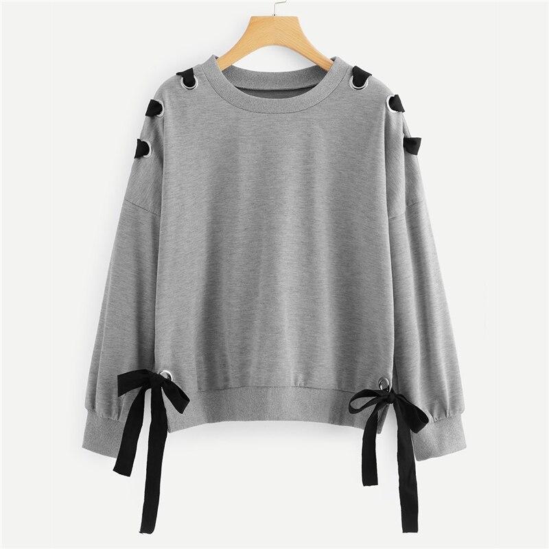 Grey Criss Cross Drop Shoulder Knot Side Sweatshirt For Women