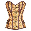 Sexy steampunk corset overbust 2017 tan satin fabric globe print vintage gothic punk clothing waist corsets and bustiers H50031