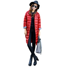 Luzuzi 1PC Thin Down Jacket Winter Women Long Coats Outerwear Parka Chaquetas Mujer