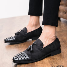 Men Black Dress Italian Shoes Slip On Men Mesh Leather Moccasin Glitter Formal Male Shoes Pointed Toe Shoes For Men Plus Size(China)