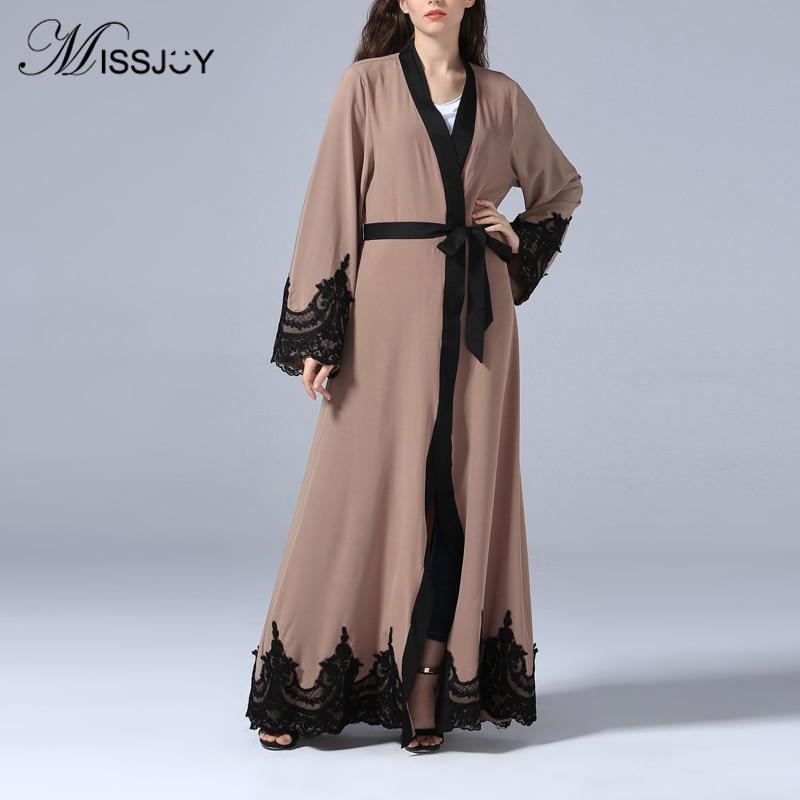 MISSJOY New 2019 Dubai Muslim Women Elegant Islamic Cardigan Kaftan Abayas Kimono Maxi Dress Pakistani Turkish Long Robe