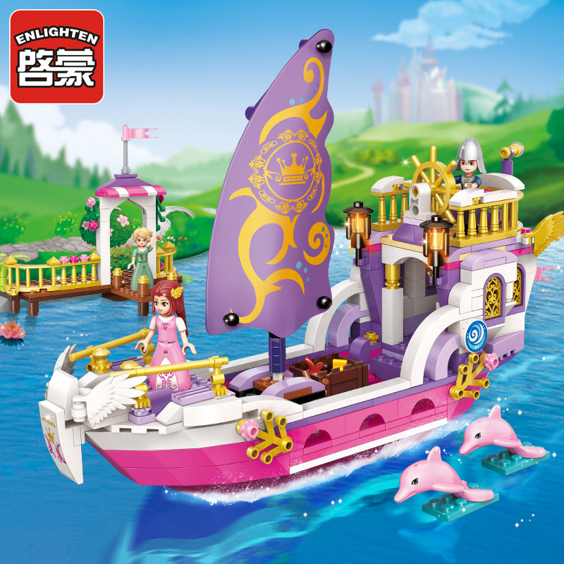 Enlighten Building Block Girls Friends Princess Leah Angel Princess Ship 3 Figures 456pcs Educational Bricks Toy For Girl-No Box