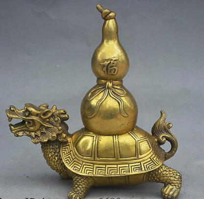 8 Folk China FengShui Brass JiXiang Lucky Dragon Turtle Carry Fu Gourd Statue 8 Folk China FengShui Brass JiXiang Lucky Dragon Turtle Carry Fu Gourd Statue