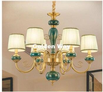 Free Shipping Nordic Chandelier Lustre Brass Pendant Lamp Lighting Pendant Lustre Crital Modern Jade Ceramic Chandelier Lighting