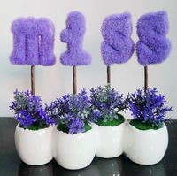 miss letter purple Creative small green plants potted bonsai artificial tree mini potted suit Valentine's Day present / gift