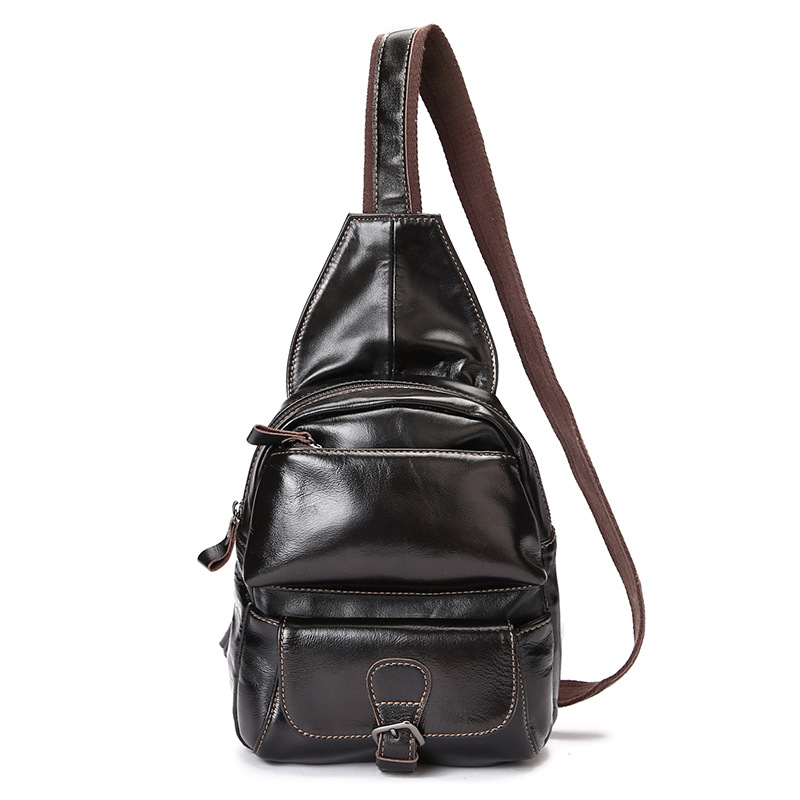 New oil shampoo head cowhide fashion mens chest bag vertical paragraph style leisure shoulder bag zipper messenger Messenger baNew oil shampoo head cowhide fashion mens chest bag vertical paragraph style leisure shoulder bag zipper messenger Messenger ba