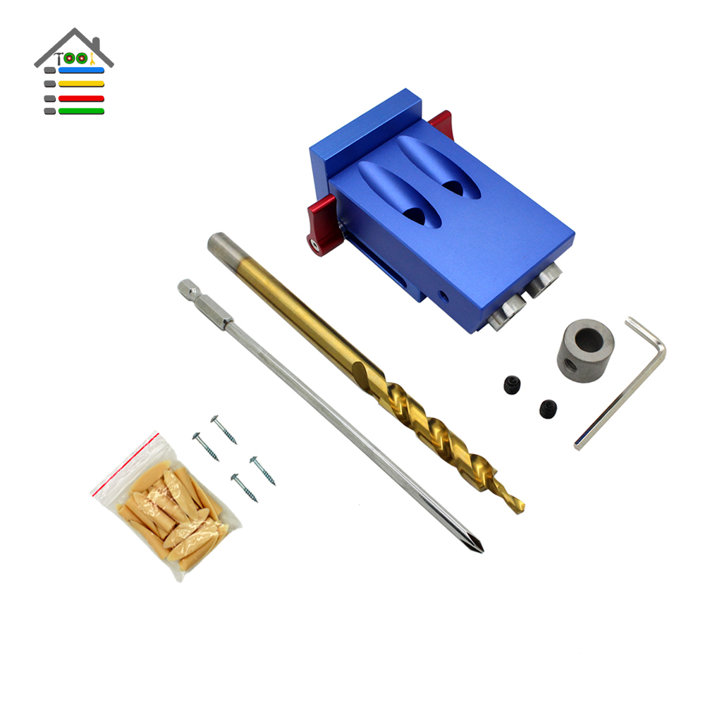 AUTOTOOLHOME 2 Holes Pocket Hole Jig Kit System For Kreg 9.5mm Step Drill Bit Screw Set fit Woodworking Joinery Guide Tools 1 4 hex twist 9 5mm diameter bits step drill woodworking drills bits set for kreg pocket hole drill jig guide