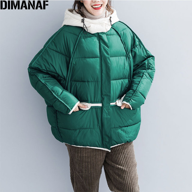 Flash Promo DIMANAF Women Winter Parka Jacket Coat Short Thick Down Jacket Casual Green Overcoat Female Loose Outerwear 2018 Solid Jackets