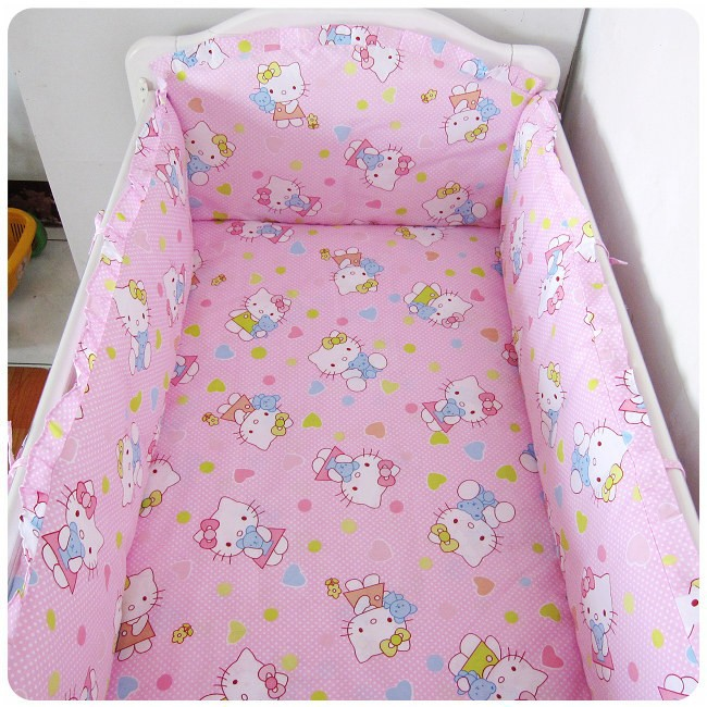 Promotion! 6PCS Baby crib bedding set 100% cotton baby bedclothes (bumpers+sheet+pillow cover) promotion 6pcs baby 100