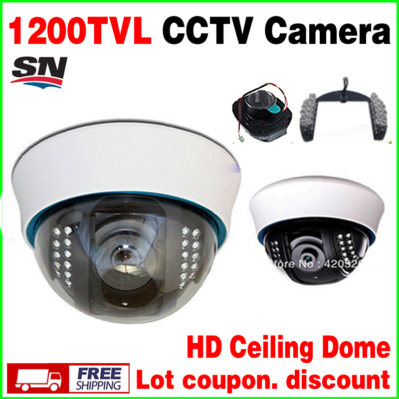high End 1 3cmos 1200TVL Cctv Analog Camera Security Surveillance Indoor DOME 22LED Infrared IRCUT Night