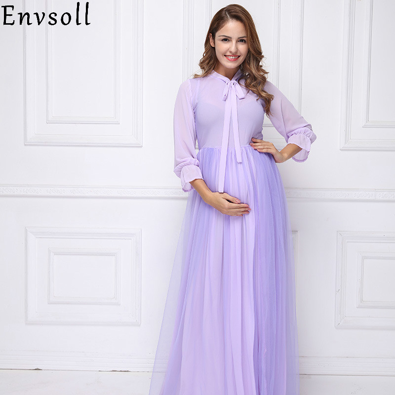 Envsoll Fashion Pregnant Dress For Photo Shooting Maternity Photography Dresses For Pregnant Women Photography Maternity Dress photography maternity dress black embroider elegant half sleeve pregnant dress