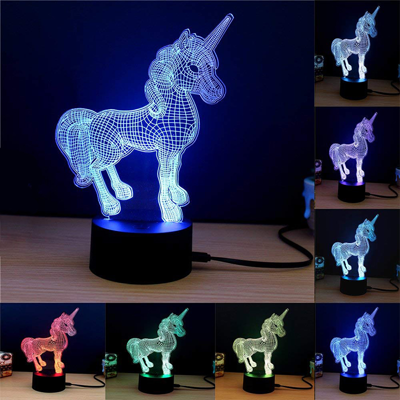 ZZEL ZYEL 3D LED LAMP Animal Unicorn NIGHT LIGHT Multicolor RGB Remote Control Christmas Bedroom Decorative Gift Cartoon Toys beiaidi 7 color usb rechargeable rabbit led night light dimmable animal cartoon light with remote baby kids christmas gift lamp