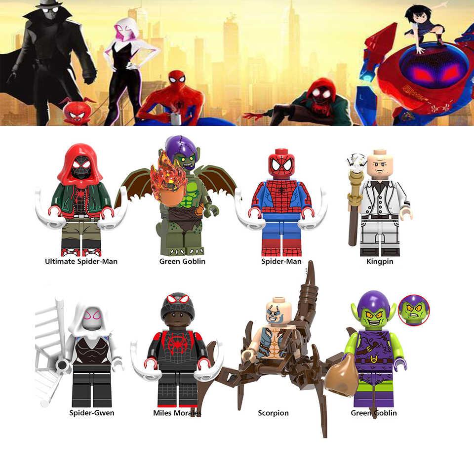 Para a Marvel 2019 Spiderman Figuras Para o Aranha Versículo Gwen Figuras Bricks Blocos Crianças Brinquedos de Presente