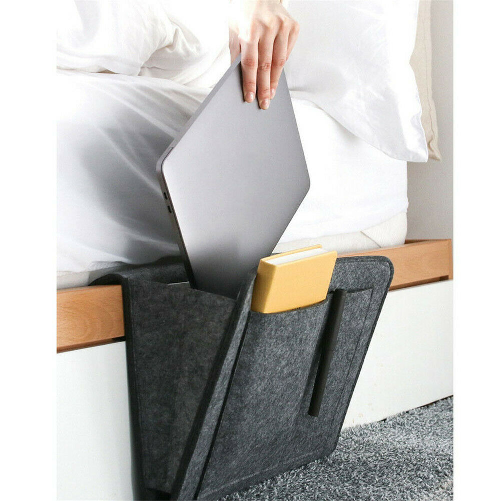 Bedside Storage Bag Felt Bed Sofa Side Pouch Remote Control Hanging Caddy Bedside Couch Storage Organizer Bed Holder Pockets
