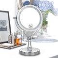 360 Градусов Вращения 6-дюймовый двухсторонний Столе СВЕТОДИОД Косметическое Зеркало Свет Зеркало для Макияжа 5-кратным увеличением
