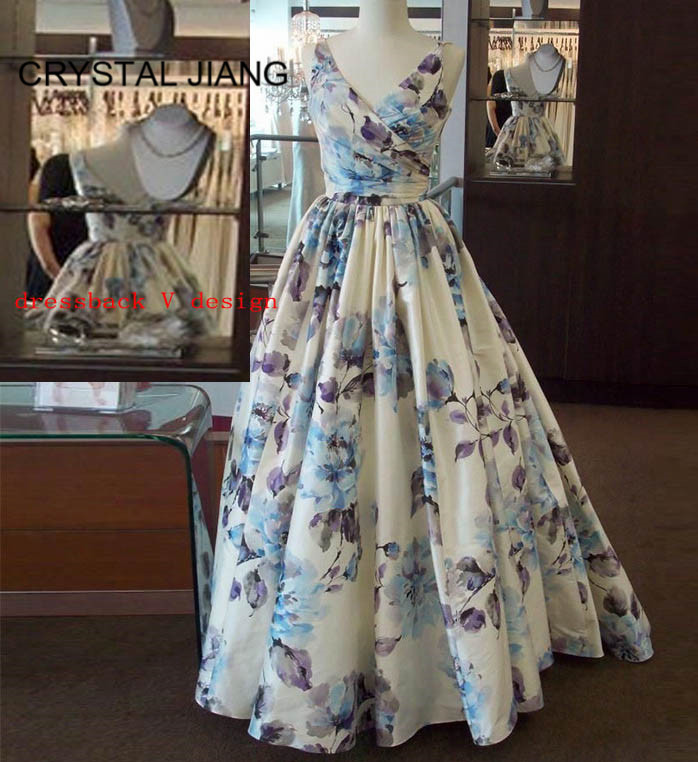 CRYSTAL JIANG 2019 New Arrival Sexy V Neck Floral Printed Formal Gown Custom Made A Line Evening Dresses Long