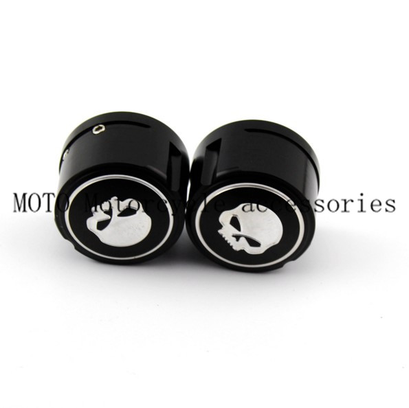CNC Billet Aluminum Motorcycle Skull Front Axle Nut Cover Cap Black for Harley Sportster XL883 1200 Electra Street Glide skull front axle nut cover for harley dyna softail sportster v rod electra glide