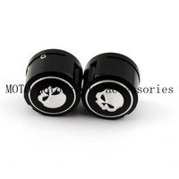 CNC Billet Aluminum Motorcycle Skull Front Axle Nut Cover Cap Black For Harley Sportster XL883 1200