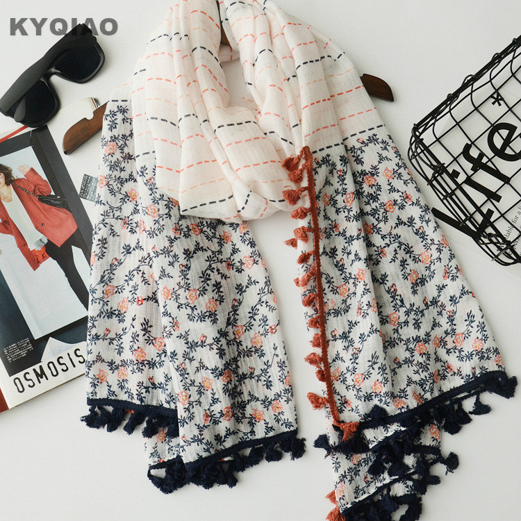 Women scarf 2018 mori girls autumn spring Japanese style fresh designer long print patchwork scarves cape shawl muffler