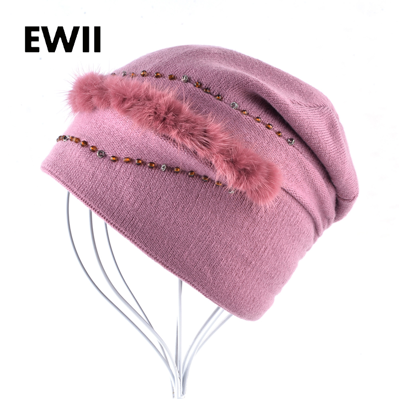 Girls knitted fur hat for women winter wool cap skullies ladies beanies fur caps women casual beanie hats gorro feminino hot sale winter cap women knitted wool beanie caps men bone skullies women warm beanies hats unisex casual hat gorro feminino
