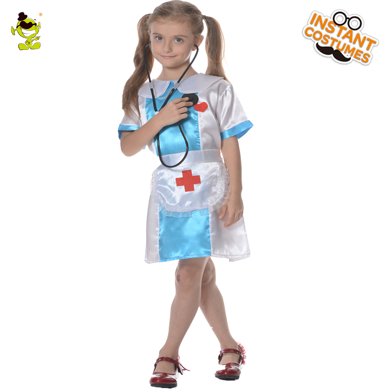 Little Girl Nurse Costumes Halloween Career Role Play Party Lovely Nurse Imitation Dress Kids Beautiful Doctor Cosplay Clothes