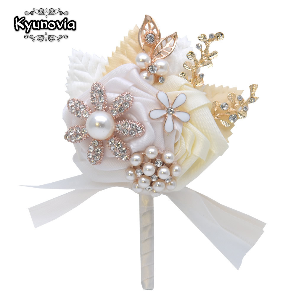 Kyunovia Wedding Brooch Boutonniere And Corsage Set Prom Gift For Groom Golden Leaf Lapel Pin Wedding Boutonniere D135