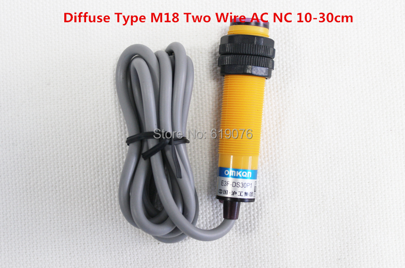 1Pcs Diffuse Type M18 Two Wire AC NC 10-30cm Detection Distance Photoelectric Sensor Optical Sensor E3F-DS30Y2 photoelectric switch e3f ds30y2 30cm adjustable diffuse ac 220 v two wire normally closed