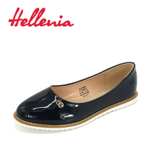 Hellenia New Fashion Casual Women Rounded Toe Flat Bottom Shoes Candy Color black Autumn
